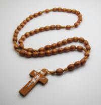 Collier bois Longueur de la chaîne:  60cm Taille du pendentif:  7.5cm Taille croix: Environ 4.25X2.4 cm Taille des perles: 7.5X 10 mm