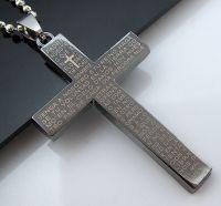 Collier chaine acier inoxydable 60 cm croix Taille: 54X34mm