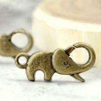 Fermoir mousqueton Eléphant Couleur Bronze 23x16mm  Qte : 5