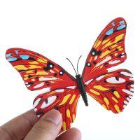 3D papillon décor Magnetique ou autocollant décor mural d'intérieur rouge X 12