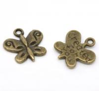 Breloques Papillon Couleur bronze 13x13mm X 2