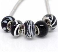 Mixte Perles Lampwork 14 X 10 Verre  Noir X 10