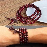 108 Perles 6 mm Perles de méditation bouddhiste en bois de santal tibétain  6mm Bracelets elastiques 108pcs