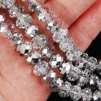 Perles 6 x 4mm, perles <br /> Cristal argentees<br /> X 25