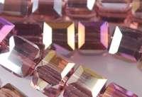 Cubes en crystal  fuschia AB 6 mm X 30