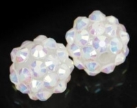Boules rondes strass disco white