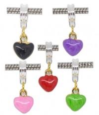 Mixte Pendants Breloque Coeur Émail pour Bracelet  25x9.5mm X 10
