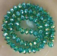 Perles crystal 4 x 6 emerald AB X 42