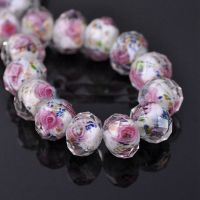 Perles Lampwork , perles de Murano white  12 mm trou 1.2 mm X 12