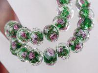 Perles Lampwork , perles de Murano  12 mm et trou 1.2 X 10