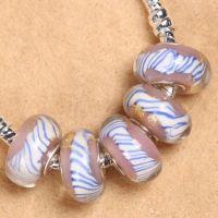 Perles Lampwork , perles de Murano et argent  7 x 14 et trou 4.5  X 5