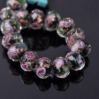 Perles Lampwork , perles de Murano black 12 mm  X 12