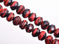 Perles Lampwork , perles de Murano noir et rouge 12 x 8 mm  X 10