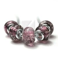 Perles Lampwork , perles de Murano et argent 14 x 9 et trou 4.5  X 5