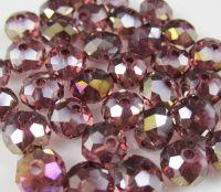 Perles cristal 6x8mm,purple X 30