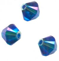 Perles toupies Swarovski  4mm  5328 CAPRI BLUE AB2X X 50 perles
