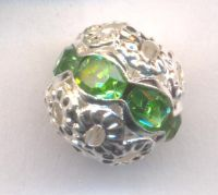 Boules rondes strass  8 mm  peridot