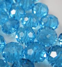 Perles crystal 3 x 4 mm Aquamarine X 50