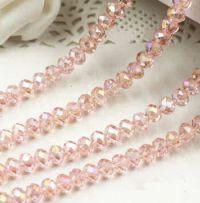 Perles crystal 3 x 4 mm light rose X 100
