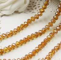 Perles crystal 3 x 4 mm topazine X 50