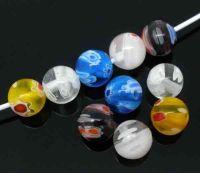 Perles Lampwork , perles de Murano Rondes Millefiori    8mm Mixte X 25