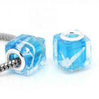 Perles Lampwork , perles de Murano Carré Bleu  14x12mm  X 10