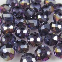 Perles cristal violet AB 3 x 4 mm x 25