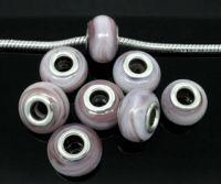 Perles Lampwork , perles de Murano Violet et Blanc 9mm x 15mm Taille du trou:4.8mm X 10