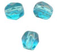 PERLES FACETTES DE BOHEME  4mm BLUE ZIRCON x 100