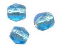 PERLES FACETTES DE BOHEME  6mm AB 25 perles CRYSTAL AQUAMARINE LINED