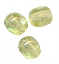 PERLES FACETTES DE BOHEME 6mm AB 25 perles LIGHT OLIVINE AB