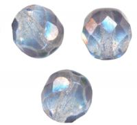 PERLES FACETTES DE BOHEME  6mm AB 25 perles LUSTER CRYSTAL BLUE AB