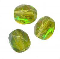 PERLES FACETTES DE BOHEME  6mm AB 25 perles OLIVINE AB