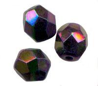 PERLES FACETTES DE BOHEME  6mm AB 25 perles SIAM VITRAIL MEDIUM