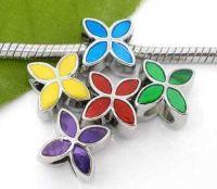 Mixte Perles Charms Fleur 4 Pétales émail coloré 13x10mm X 10