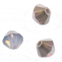 TOUPIES SWAROVSKI® ELEMENTS 4mm AB WHITE OPAL METALLIC SILVER  X 50 perles